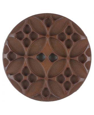 Polyamidknopf mit rautenförmigen Ornamenten, rund, 2 loch - Größe: 28mm - Farbe: braun - Art.Nr. 336713