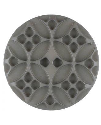 Polyamidknopf mit rautenförmigen Ornamenten, rund, 2 loch - Größe: 28mm - Farbe: braun - Art.Nr. 336714