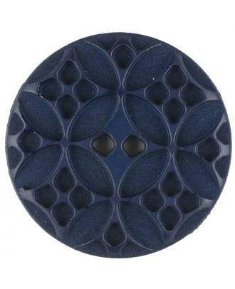 Polyamidknopf mit rautenförmigen Ornamenten, rund, 2 loch - Größe: 34mm - Farbe: blau - Art.Nr. 376715