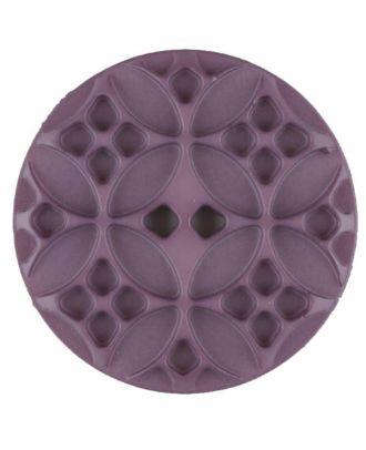 Polyamidknopf mit rautenförmigen Ornamenten, rund, 2 loch - Größe: 28mm - Farbe: lila - Art.Nr. 336716
