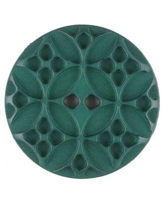 Polyamidknopf mit rautenförmigen Ornamenten, rund, 2 loch - Größe: 34mm - Farbe: grün - Art.Nr. 376717