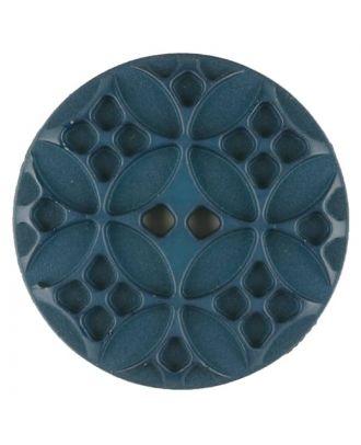 Polyamidknopf mit rautenförmigen Ornamenten, rund, 2 loch - Größe: 34mm - Farbe: grün - Art.Nr. 376718