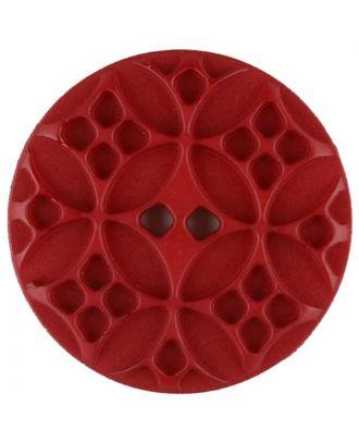 Polyamidknopf mit rautenförmigen Ornamenten, rund, 2 loch - Größe: 28mm - Farbe: rot - Art.Nr. 336719