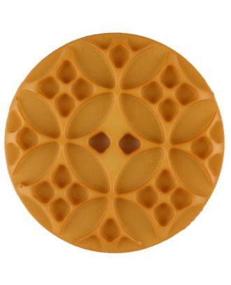 Polyamidknopf mit rautenförmigen Ornamenten, rund, 2 loch - Größe: 28mm - Farbe: gelb - Art.Nr. 336721