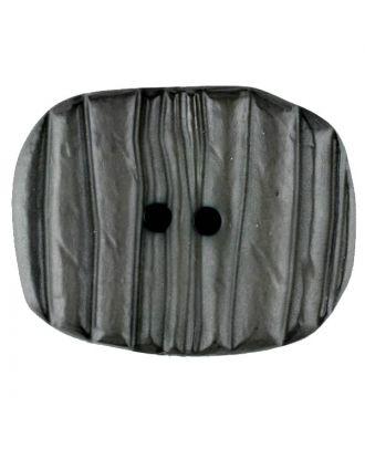 Polyamidknopf patiniert, oval, 2 loch - Größe: 34mm - Farbe: grau - Art.Nr. 376722