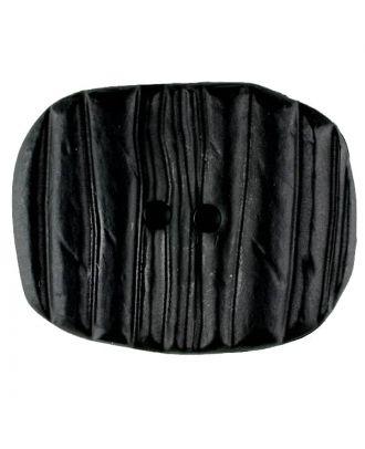Polyamidknopf patiniert, oval, 2 loch - Größe: 28mm - Farbe: schwarz - Art.Nr. 341201