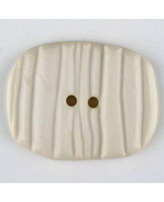 Polyamidknopf patiniert, oval, 2 loch - Größe: 34mm - Farbe: beige - Art.Nr. 376723