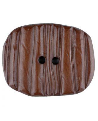 Polyamidknopf patiniert, oval, 2 loch - Größe: 28mm - Farbe: braun - Art.Nr. 346706