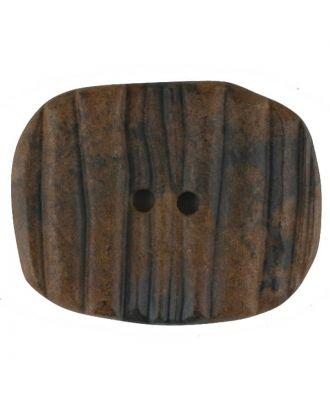 Holzknopf patiniert, oval, 2 loch - Größe: 34mm - Farbe: braun - Art.Nr. 380335