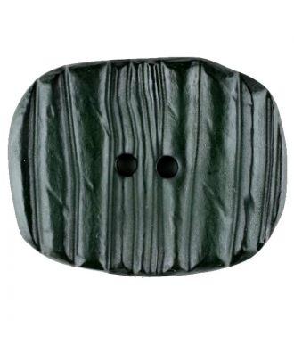 Polyamidknopf patiniert, oval, 2 loch - Größe: 34mm - Farbe: grün - Art.Nr. 376730