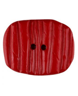 Polyamidknopf patiniert, oval, 2 loch - Größe: 28mm - Farbe: rot - Art.Nr. 346710