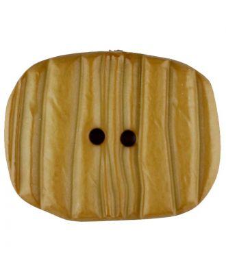 Polyamidknopf patiniert, oval, 2 loch - Größe: 34mm - Farbe: gelb - Art.Nr. 376732