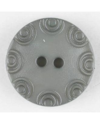 Polyamidknopf, von Kreisen umrandet, rund, 2 loch - Größe: 13mm - Farbe: grau - Art.Nr. 216700
