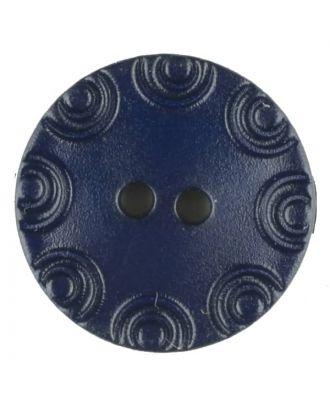 Polyamidknopf, von Kreisen umrandet, rund, 2 loch - Größe: 13mm - Farbe: blau - Art.Nr. 216708
