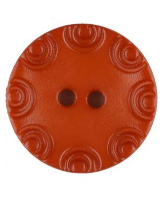 Polyamidknopf, von Kreisen umrandet, rund, 2 loch - Größe: 13mm - Farbe: orange - Art.Nr. 216718