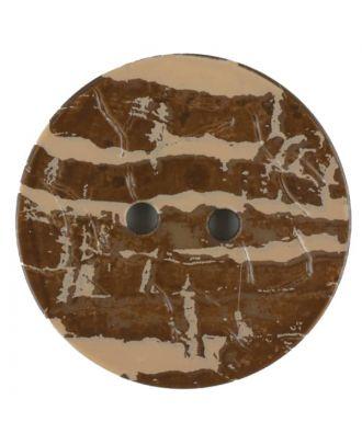 Polyamidknopf, Lederoptik, rund, 2 loch - Größe: 28mm - Farbe: braun - Art.Nr. 370760