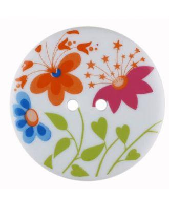 Blumenknopf rund, kunstvoll bedruckt mit 2 Löchern - Größe: 38mm - Farbe: weiss - Art.Nr. 380352