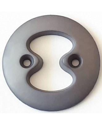 Polyamidknopf mit interessanter Ausstanzung mit 2 Löchern - Größe: 34mm - Farbe: grau - Art.Nr. 378712