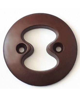 Polyamidknopf mit interessanter Ausstanzung mit 2 Löchern - Größe: 34mm - Farbe: braun - Art.Nr. 378714