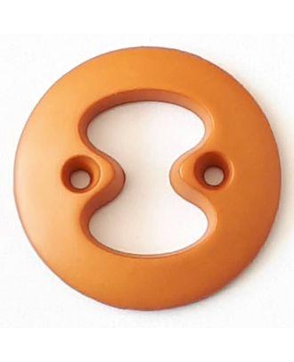 Polyamidknopf mit interessanter Ausstanzung mit 2 Löchern - Größe: 34mm - Farbe: braun - Art.Nr. 378715