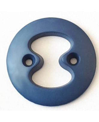 Polyamidknopf mit interessanter Ausstanzung mit 2 Löchern - Größe: 34mm - Farbe: blau  - Art.Nr. 378716