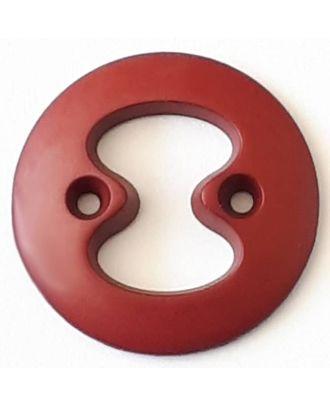 Polyamidknopf  mit interessanter Ausstanzung mit 2 Löchern - Größe: 34mm - Farbe: rot  - Art.Nr. 378722