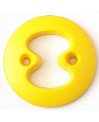 Polyamidknopf mit interessanter Ausstanzung mit 2 Löchern - Größe: 34mm - Farbe: gelb - Art.Nr. 378723