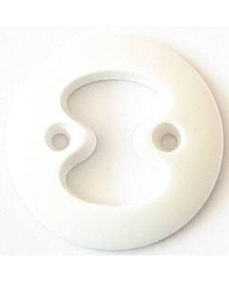 Polyamidknopf mit interessanter Ausstanzung mit 2 Löchern - Größe: 34mm - Farbe: weiß - Art.Nr. 370795