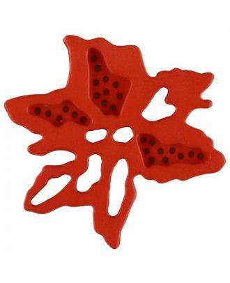 außergewöhnlicher Blumenknopf mit 2 Löchern - Größe: 28mm - Farbe: rot - Art.Nr. 337722