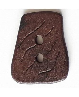 Polyamidknopf  in asymmetrischer Trapezform mit 2 Löchern - Größe: 35mm - Farbe: braun - Art.Nr. 388728