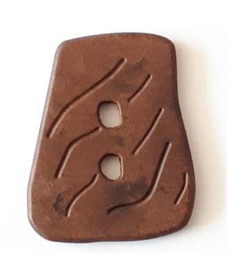 Holzknopf in asymmetrischer Trapezform mit 2 Löchern - Größe: 35mm - Farbe: braun - Art.Nr. 390305