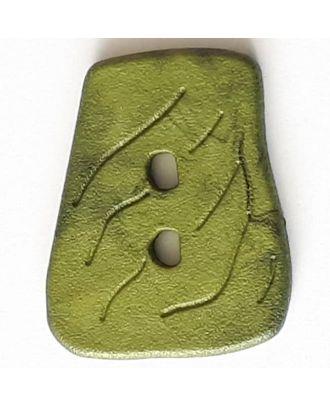 Polyamidknopf in asymmetrischer Trapezform mit 2 Löchern - Größe: 35mm - Farbe: grün - Art.Nr. 388732