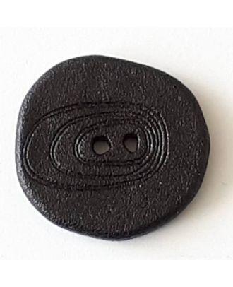 Polyamidknopf unregelmäßig geformt mit 2 Löchern - Größe: 18mm - Farbe: schwarz - Art.Nr. 281086