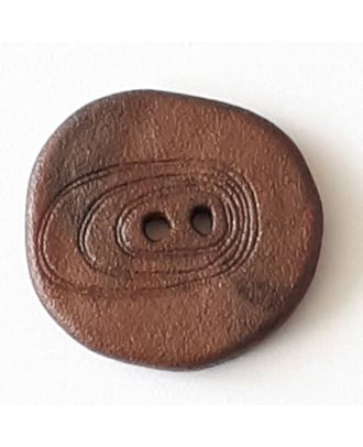 Polyamidknopf unregelmäßig geformt mit 2 Löchern - Größe: 18mm - Farbe: braun - Art.Nr. 288702