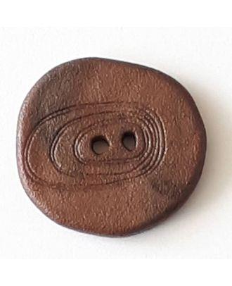 Polyamidknopf unregelmäßig geformt  mit 2 Löchern - Größe: 28mm - Farbe: braun - Art.Nr. 348715