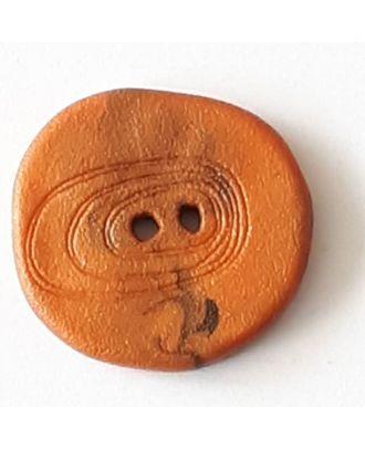 Polyamidknopf unregelmäßig geformt mit 2 Löchern - Größe: 28mm - Farbe: braun - Art.Nr. 348716