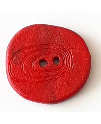 Polyamidknopf unregelmäßig geformt mit 2 Löchern - Größe: 28mm - Farbe: rot - Art.Nr. 348722