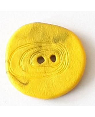 Polyamidknopf unregelmäßig geformt mit 2 Löchern - Größe: 28mm - Farbe: gelb - Art.Nr. 348724