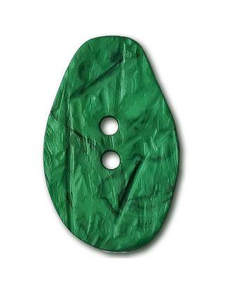 Marmorierter Knopf in Tropfenform mit 2 Löchern - Größe: 32mm - Farbe: mintgrün / grün - Art.Nr. 372835