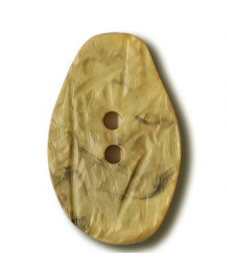 Marmorierter Knopf in Tropfenform mit 2 Löchern - Größe: 32mm - Farbe: gelb / messing - Art.Nr. 372839