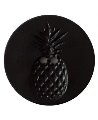 Knopf mit Relief in Ananasform 2-Loch - Größe: 18mm - Farbe: schwarz - Art.Nr. 241253