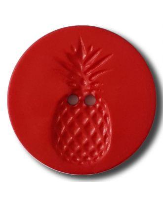 Knopf mit Relief in Ananasform 2-Loch - Größe: 28mm - Farbe: rot - Art.Nr. 332836