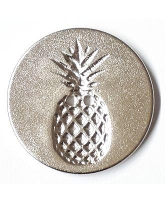 Knopf mit Relief in Ananasform 2-Loch - Größe: 23mm - Farbe: silber - Art.Nr. 290748
