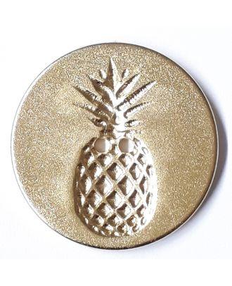 Knopf mit Relief in Ananasform 2-Loch - Größe: 28mm - Farbe: gold - Art.Nr. 360487