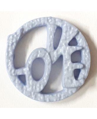 schöner abstrakter Love Knopf - Größe: 15mm - Farbe: blau / hellblau - Art.Nr. 242853