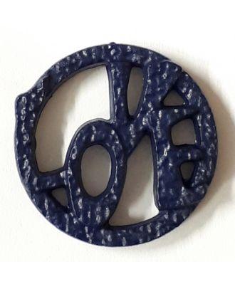 schöner abstrakter Love Knopf - Größe: 15mm - Farbe: marine / dunkelblau - Art.Nr. 242855