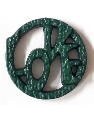 schöner abstrakter Love Knopf - Größe: 15mm - Farbe: dunkelgrün / petrol - Art.Nr. 242858