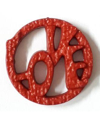 schöner abstrakter Love Knopf - Größe: 15mm - Farbe: rot - Art.Nr. 242860