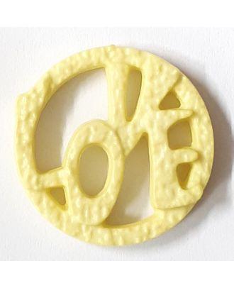 schöner abstrakter Love Knopf - Größe: 15mm - Farbe: gelb / messing - Art.Nr. 242861