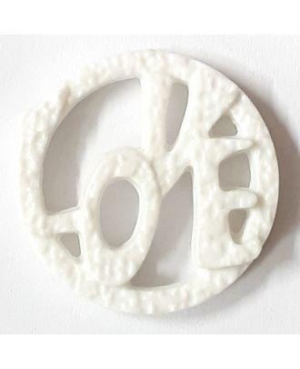 schöner abstrakter Love Knopf - Größe: 25mm - Farbe: weiss - Art.Nr. 331153